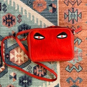 Red Calf Hair CrossBody Bag Min & Mon Leather